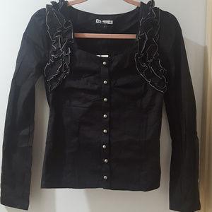 black ruffle gothic steampunk long sleeve blouse
